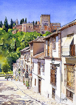 The Alhambra From Calle Victoria by Margaret Merry