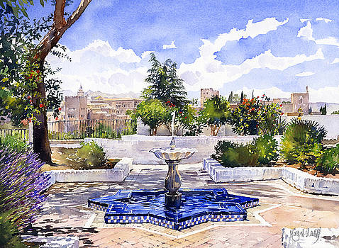 The Alhambra from the Mezquita in Granada by Margaret Merry