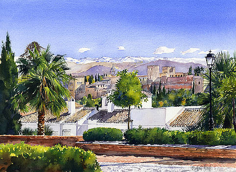 The Alhambra Palace and Sierra Nevada Granada, Spain by Margaret Merry