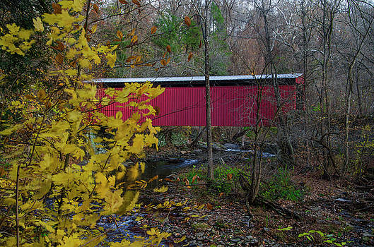 The Autumn Season at Thomas Mill Covered Bridge by Bill Cannon