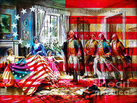 Wingsdomain Art and Photography - The Birth Of Old Glory With Flag And The Declaration Of Independence 20150710
