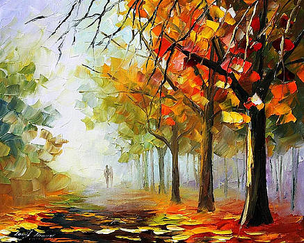 The Calm Of The Forest - PALETTE KNIFE Oil Painting On Canvas By Leonid Afremov by Leonid Afremov