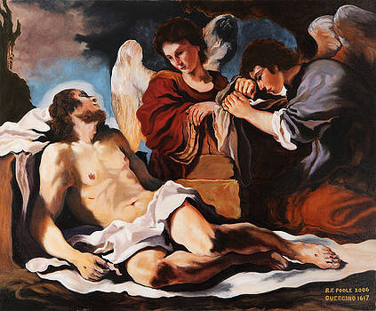 The dead Christ mourned by two Angels by Rebecca Poole