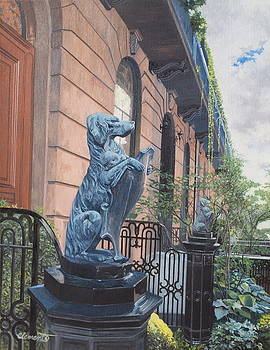 The dogs on West Tenth Street, New York, NY  by Barbara Barber