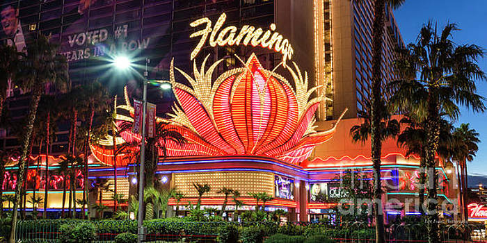 The Flamingo Neon Sign at Dawn by Aloha Art