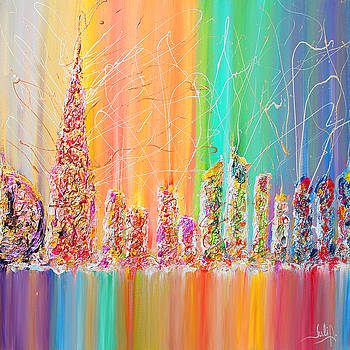 The Future City Abstract Painting  by Julia Apostolova