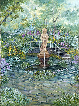 The Garden Triptych Middle Painting by Lois Mountz