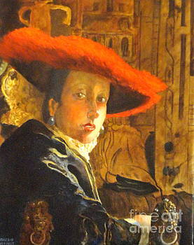 THE GIRL WITH THE RED HAT after Jan Vermeer by Dagmar Helbig
