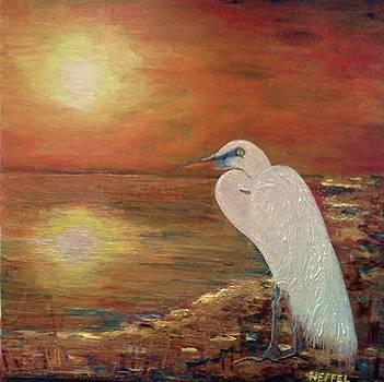 'The Great White Egret' by Paula  Heffel