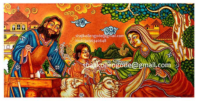 The holly family- kerala mural painting by Shaji Kollengode