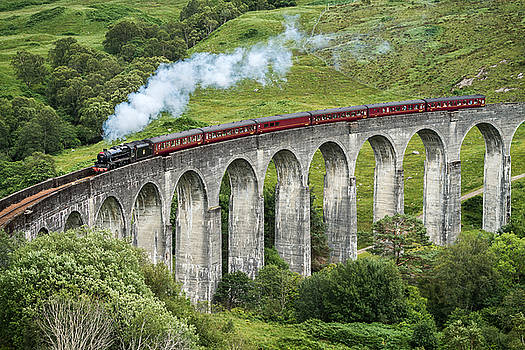 The Jacobite Crossing Glenfinnan Viaduct by Antony Meadley
