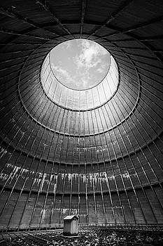 the little house inside the cooling tower BW by Dirk Ercken