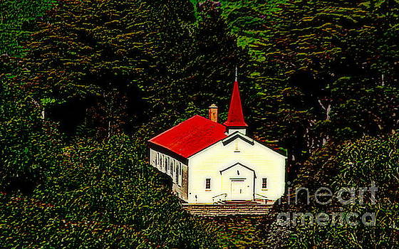 Red Steeple Red Roof White Church Near Sausalito California by Michael Hoard