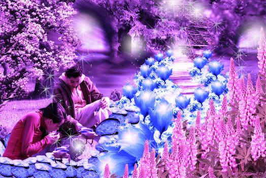 Cathy  Beharriell - The Magic Water Flower Path Purple