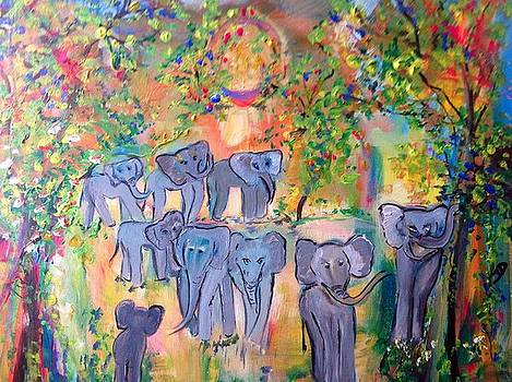 The magical elephant herd  by Judith Desrosiers