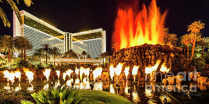 The Mirage Casino and Volcano at Night by Aloha Art