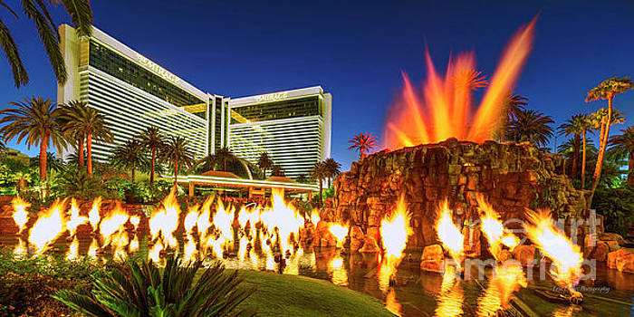The Mirage Casino and Volcano Eruption at Dusk by Aloha Art