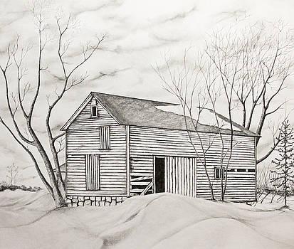 The Old Barn inWinter by John Stuart Webbstock
