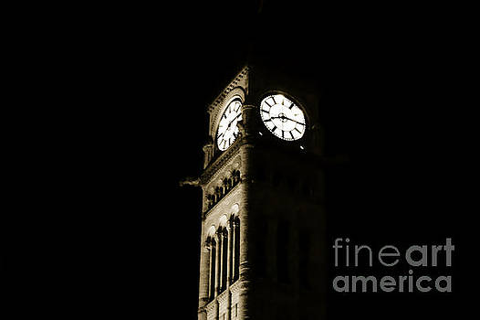 The old clock at city hall by Wayne Wilton