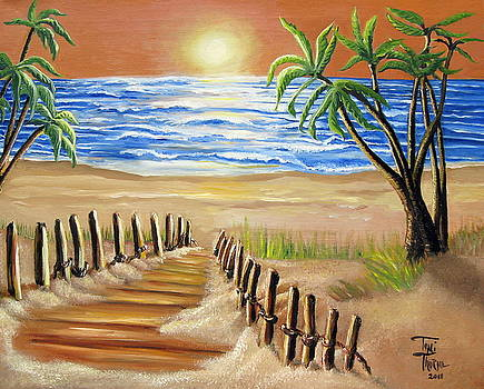 The Palm Tree Beach by Toni  Thorne