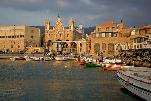The port at the old city of Batroun with the St Stephens Church by Amalmc