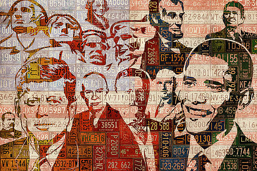 The Presidents Past Recycled Vintage License Plate Art Collage by Design Turnpike