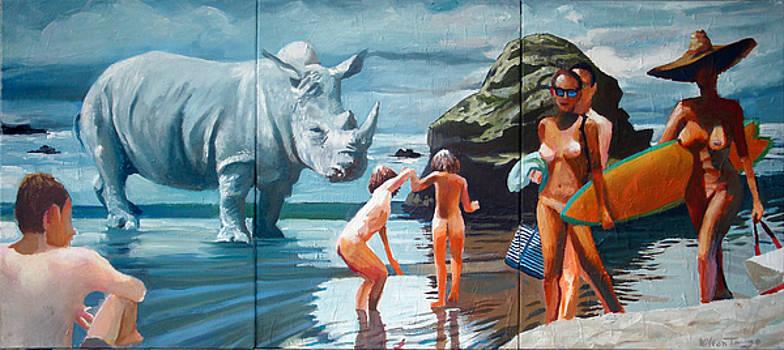 The Recurring Rhino Of Rolex Beach by Geoff Greene