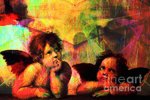 Wingsdomain Art and Photography - The Sistine Modonna Baby Angels in Abstract Space 20150622