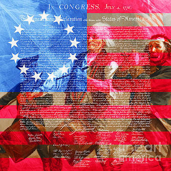 Wingsdomain Art and Photography - The Spirit of 76 The American Flag And The Declaration Of Independence 20150704square