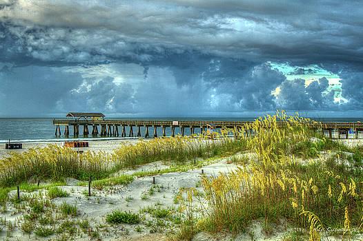 The Storm Tybee Island Pier Sea Oats Art by Reid Callaway