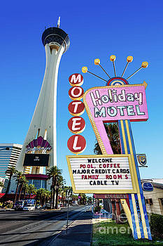 The Stratosphere Casino in Front of the Holiday Motel Sign by Aloha Art