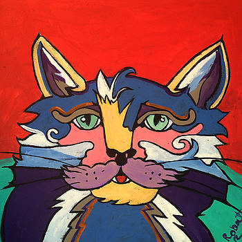 The Streetwise Old Colorful Cat Prints by Robert Erod by Robert R Splashy Art Abstract Paintings