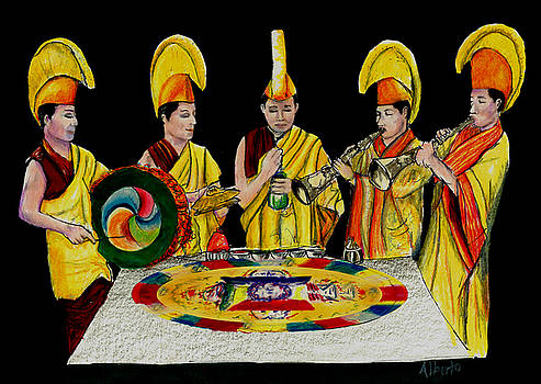 The Tibetan Monks at Lilydale Assembly by Albert Puskaric