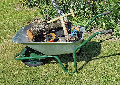 The wheelbarrow is on a garden lawn by Aleksandr Volkov