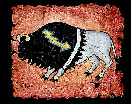The White Sacred Buffalo fresco by Art OLena