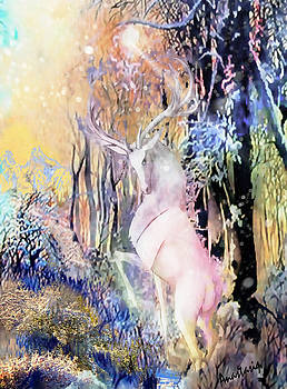 The White Stag and Mount Ushba by Anastasia Savage Ealy