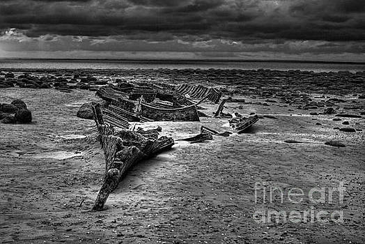 The Wreck of The Sheraton in black and white by John Edwards
