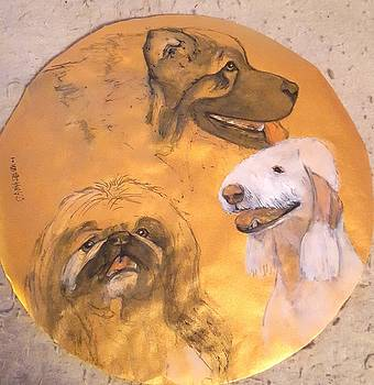 Three breeds on gold by Debbi Saccomanno Chan