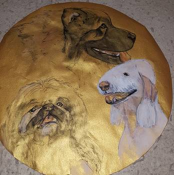 Three breeds on gold with flash  by Debbi Saccomanno Chan