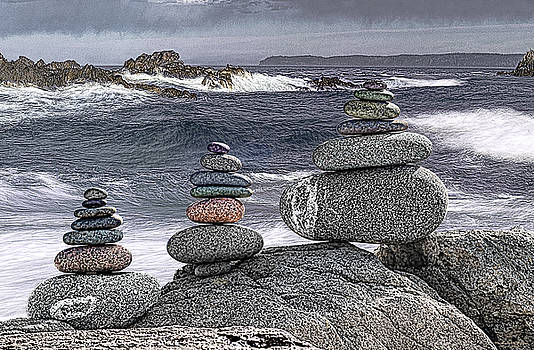 Three Cairn Seascape by Marty Saccone