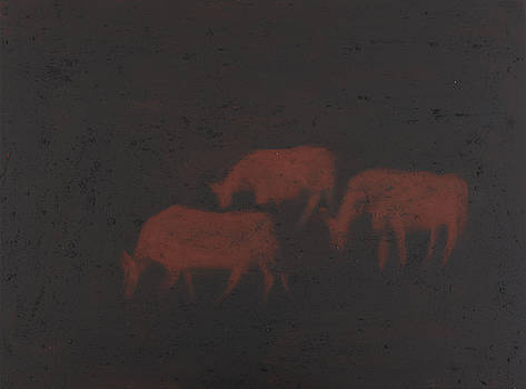 Three cows at night by Sophy White