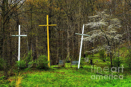 Three Crosses and Dogwood in Bloom by Thomas R Fletcher