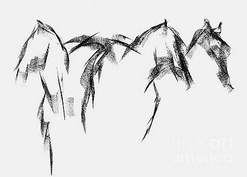 Three Horse Sketch by Frances Marino