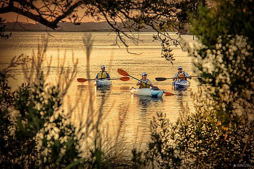 Three Kayaks Coming Home by Phil Mancuso