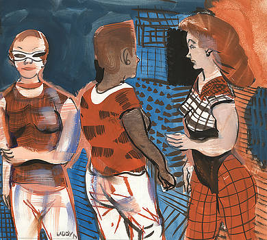 Three Ladies in Red and Blue by Laddy Norwood
