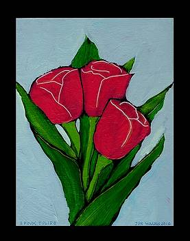 Three Pink Tulips by Jim Harris