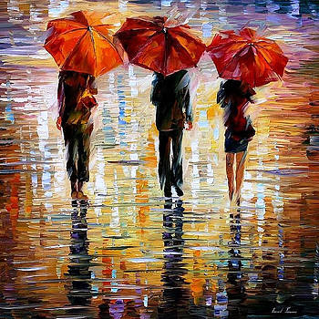 Three Red Umbrellas - PALETTE KNIFE Oil Painting On Canvas By Leonid Afremov by Leonid Afremov
