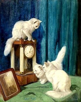 Three white kittens painting by Allen Beilschmidt