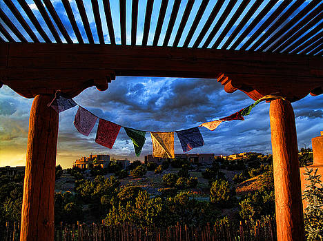 Tibetan Prayer Flags Outside My Office at Sundown by Paul Cutright