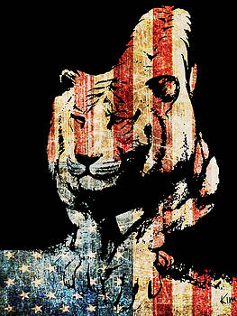 Tiger collage #9 by Kim Gauge
